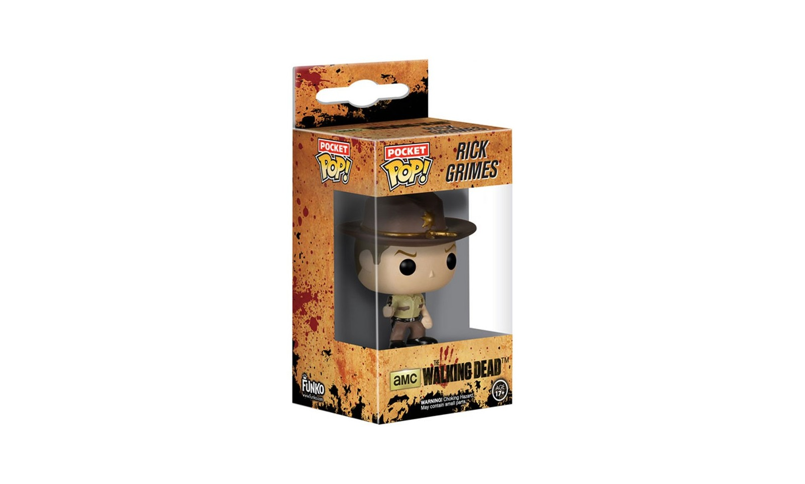 the walking dead porte cl s mini figurine pop rick grimes 4 cm s rie tv. Black Bedroom Furniture Sets. Home Design Ideas
