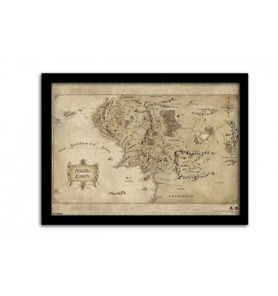 le hobbit un voyage inattendu carte terre du milieu encadr e 42 x 30 cm d co cin ma. Black Bedroom Furniture Sets. Home Design Ideas