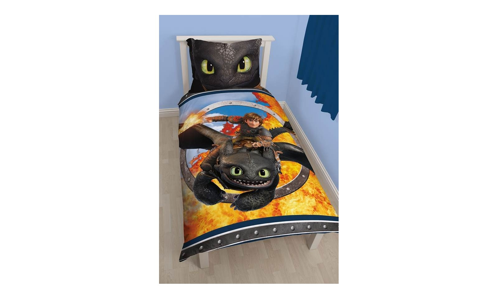 dragons parure de lit r versible toothless housse de couette taie d 39 oreiller 135 x 200. Black Bedroom Furniture Sets. Home Design Ideas