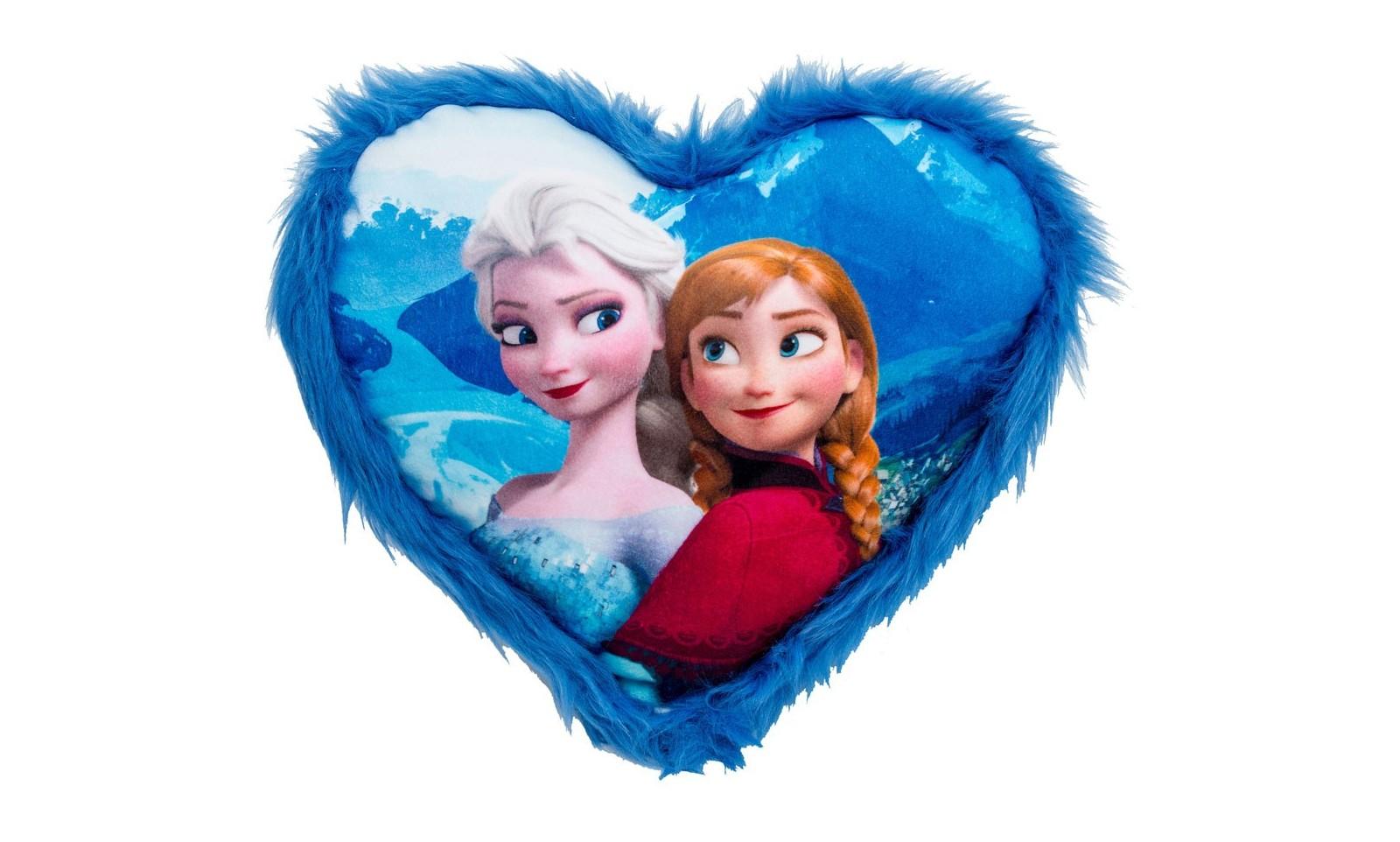 Frozen - Heart Plush Cushion with Anna & Elsa - 33 x 33 cm